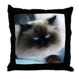 Blue-Eyed Himalayan Cat Throw Pillow