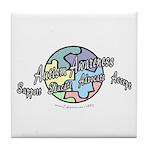 Autism Awareness Globe Tile Coaster