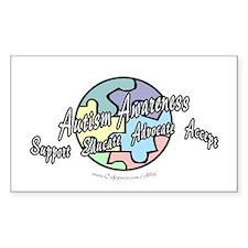 Autism Awareness Globe Rectangle Decal