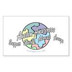 Autism Awareness Globe Rectangle Sticker