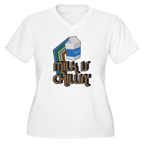 Milk is Chillin' Plus Size V-Neck Shirt