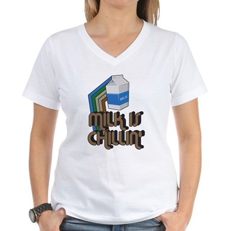 Milk is Chillin' Womens V-Neck T-Shirt