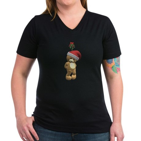Christmas Teddy Bear Women's V-Neck Dark T-Shirt
