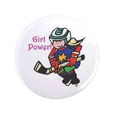 "Girl Power Hockey Player 3.5"" Button (100 pack)"