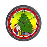 Santa with Tree Wall Clock