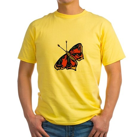 Orange Butterfly Yellow T-Shirt