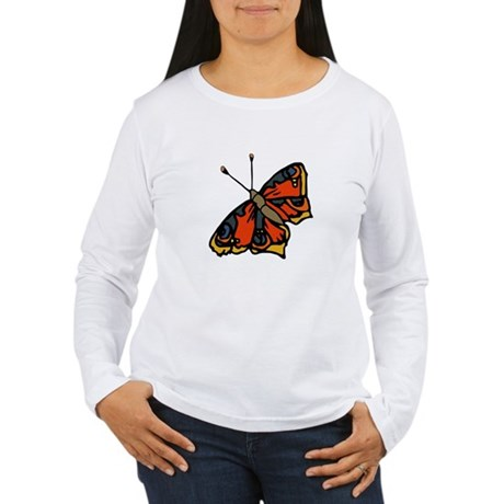 Orange Butterfly Women's Long Sleeve T-Shirt