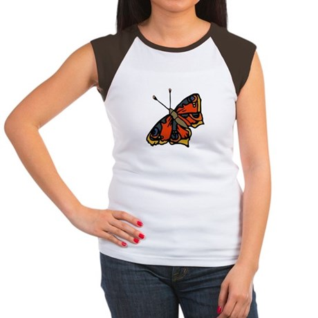 Orange Butterfly Women's Cap Sleeve T-Shirt