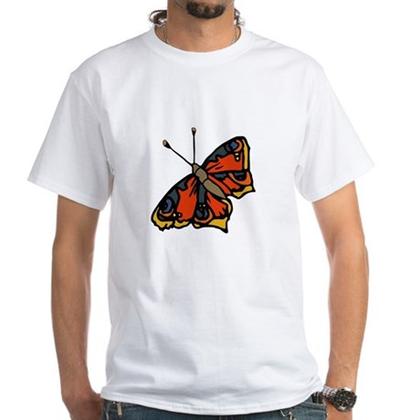 Orange Butterfly White T-Shirt
