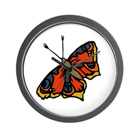 Orange Butterfly Wall Clock