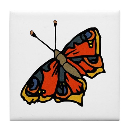Orange Butterfly Tile Coaster