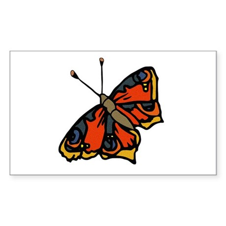 Orange Butterfly Rectangle Sticker