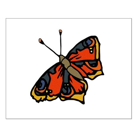 Orange Butterfly Small Poster