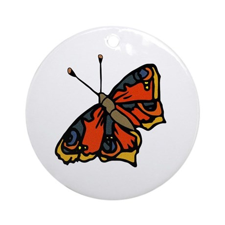 Orange Butterfly Ornament (Round)