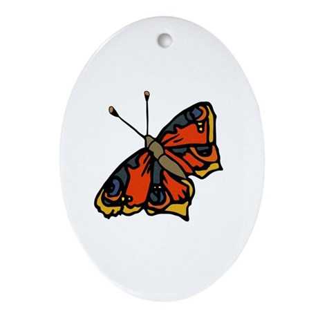 Orange Butterfly Oval Ornament