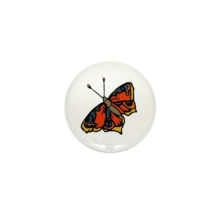 Orange Butterfly Mini Button