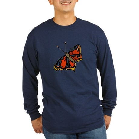 Orange Butterfly Long Sleeve Dark T-Shirt