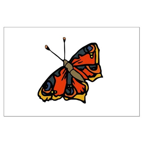 Orange Butterfly Large Poster