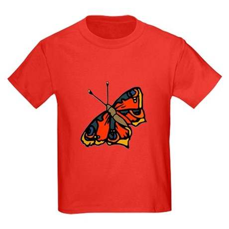 Orange Butterfly Kids Dark T-Shirt
