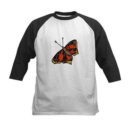 Orange Butterfly Kids Baseball Jersey