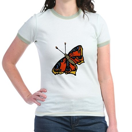 Orange Butterfly Jr. Ringer T-Shirt