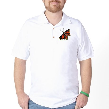 Orange Butterfly Golf Shirt