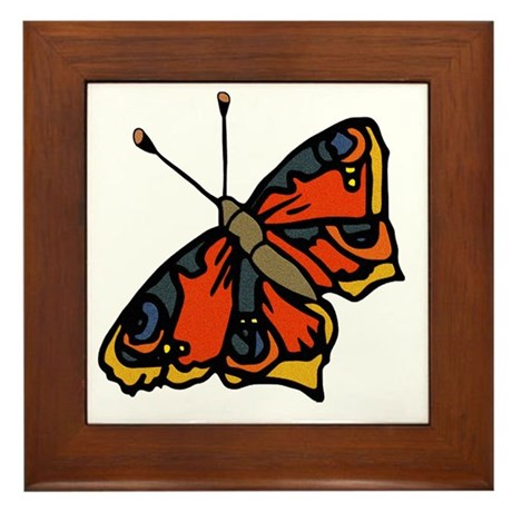Orange Butterfly Framed Tile