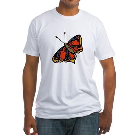 Orange Butterfly Fitted T-Shirt