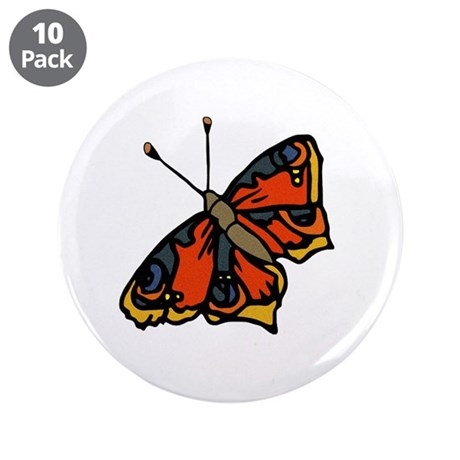 "Orange Butterfly 3.5"" Button (10 pack)"
