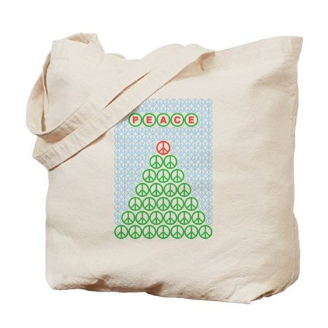 Peace Christmas Tree Tote Bag