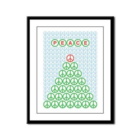 Peace Christmas Tree Framed Panel Print