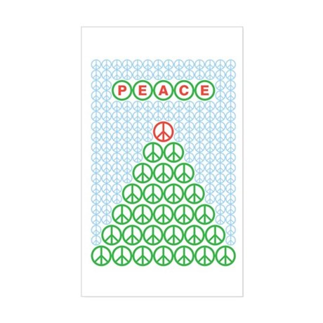 Peace Christmas Tree Rectangle Sticker