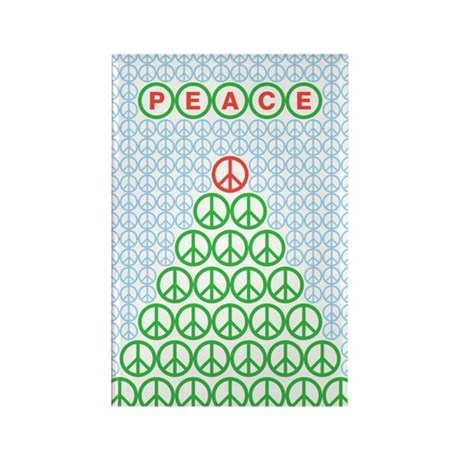 Peace Christmas Tree Rectangle Magnet (10 pack)
