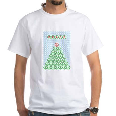 Peace Christmas Tree White T-Shirt