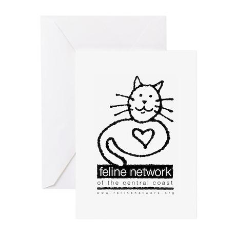 Feline Network Logo - BW Greeting Cards (Package o