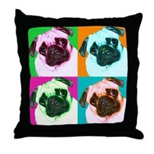 Pop Art Pug Throw Pillow