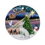 Xmas Magic &amp; Devonshire Rex cat Ornament (Round)