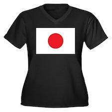 Japanese Flag Women's Plus Size V-Neck Dark T-Shir