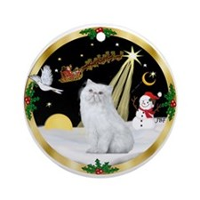 Wreath (G) - Persian cat (W) Ornament (Round)