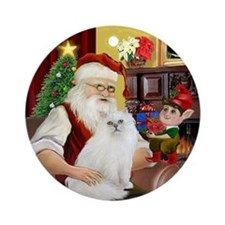 Santa's Persian cat #1 (W) Ornament (Round)