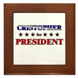 CRISTOPHER for president Framed Tile