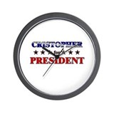 CRISTOPHER for president Wall Clock