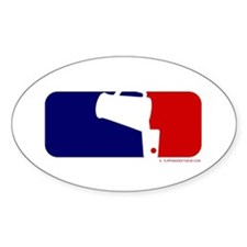 Beer Pong League Logo Oval Bumper Stickers