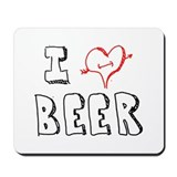 I Love Beer (Penciled) Mousepad