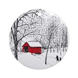Covered Bridge Ornament (Round)