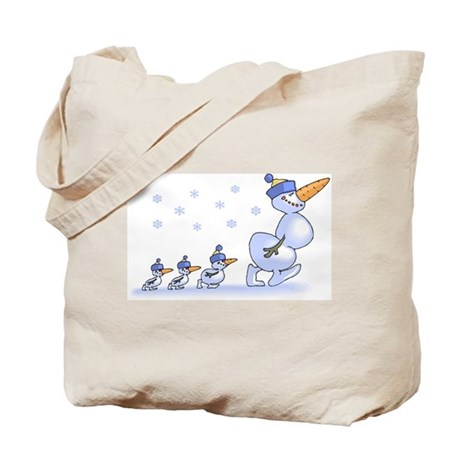 Snowman Family Tote Bag