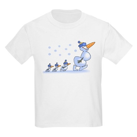 Snowman Family Kids Light T-Shirt