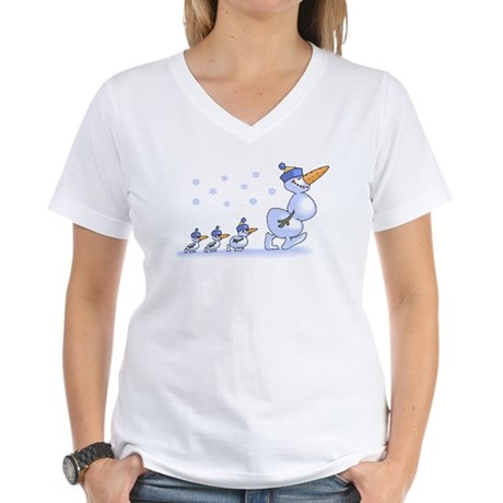 Snowman Family Women's V-Neck T-Shirt