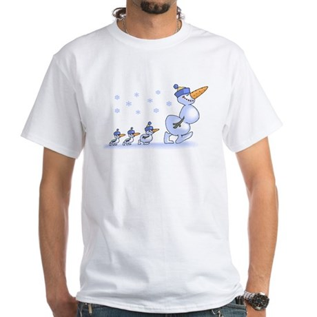 Snowman Family White T-Shirt