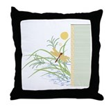 Dragonfly in Rice Field Throw Pillow